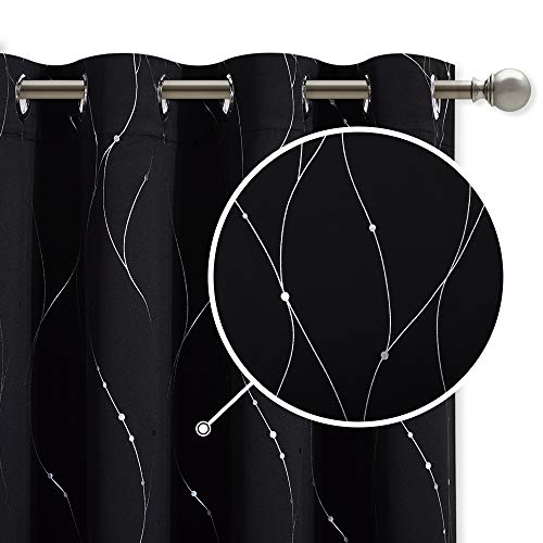 StangH Black Blackout Curtains - Wave Line with Dots Printed Modern Curtains Grommet Thermal Insulated Curtain Panels for Parlor / Office, W52 x L72 inch, Black, 2 Panels