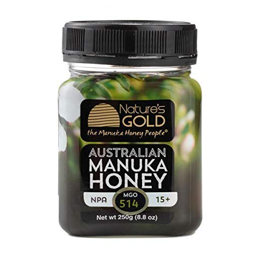Nature's Gold Premium Australian Manuka Honey Certified MGO 514 (NPA 15+) - Medical Grade 100% Raw Honey | Cold-Pressed, Not Blended, Harvested on Australia's East Coast - 250g