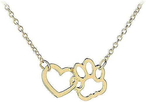 WYDSFWL Collar Hueco Mascota Pata Huella Collar Animal Lindo Perro Gato Amor Colgante Collar Mujer niña joyería Collar Oro Regalos