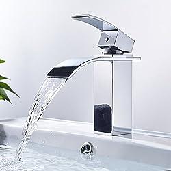 Auralum® Eleganter Wasserfall Wasserhahn fürs Badezimmer   Verchromte Waschtischarmatur fürs Waschbecken   Armatur Bad