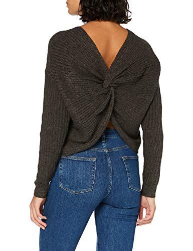 PIECES PCSUNA LS Drape Back Knit BC Suéter, Mole, XS para Mujer