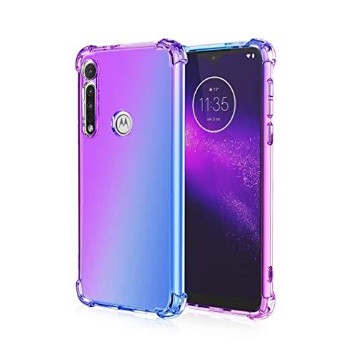 HAOTIAN Hülle für Motorola Moto G8 Power Lite Hülle, Farbverlauf-TPU Handyhülle, [Vier Ecken Verstärken] Weiche Transparent Silikon Soft TPU Hülle Schock-Absorption Durchsichtig Schutzhülle (Lila/Blau)