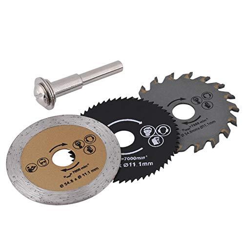 LANTRO JS - Hoja de sierra circular de 3 piezas de 54,8 mm con mandril de 1 pieza, Mini hoja de sierra circular de madera HSS, herramienta rotativa