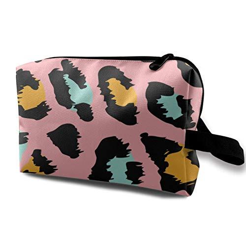 XCNGG Bolsa de almacenamiento de maquillaje de viaje, bolso de aseo portátil, pequeña bolsa organizadora de cosméticos para mujeres y hombres, patrón de leopardo