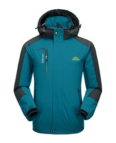 KEFITEVD Veste de randonnée imperméable pour homme avec poches à fermeture éclair Bleu lac