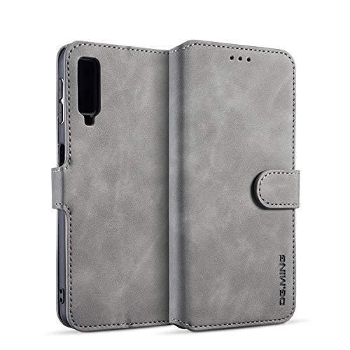 zanasta Echt Ledertasche kompatibel mit Samsung Galaxy A7 (2018) Hülle Premium Leder Tasche mit Kartenfächern, Schutzhülle Grau