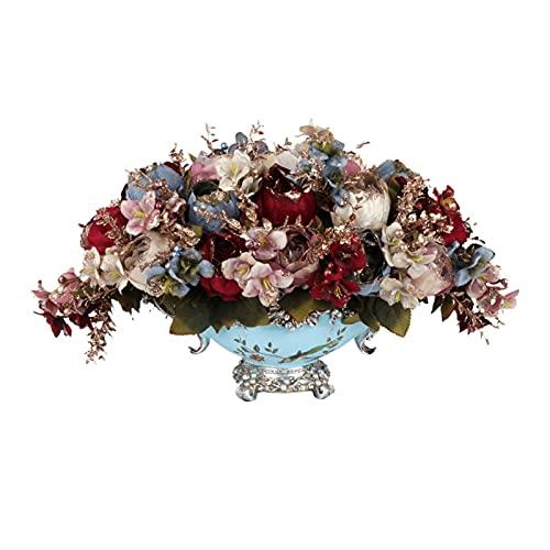 ZRL Ramos de Flores Flores Artificiales en el jarrón - Faux Peony Flowers Center Spieces Arreglo, Flannel de Seda Premium Fake Peony Flowers con jarrón de Resina para el hogar/Oficina/Fiesta d