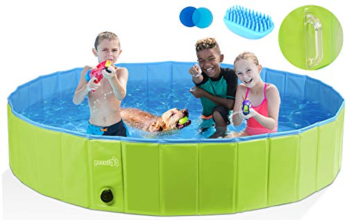Pecute Dog Pool Collapsible Dog Pet Bath Pool Dog Swimming Pool Upgrade with Handle, Portable PVC Pet Bathing Tub Children Ball Pits Kiddie Pool for Dogs Pets and Kids