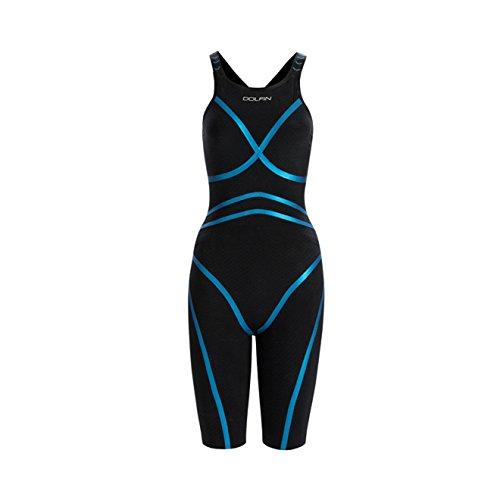 DOLFIN Women's Lightstrike Bonded Open Back Tight Leg Long Swimsuit,Black (426),28L