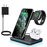 WAITIEE 3 in 1 Wireless Charger,Qi-Certified 15W Fast Charging Station for Apple iWatch Series SE/6/5/4/3/2/1,AirPods, Compatible with iPhone 12/11 Series/XS MAX/XR/XS/X/8/8 Plus/Samsung (Black)