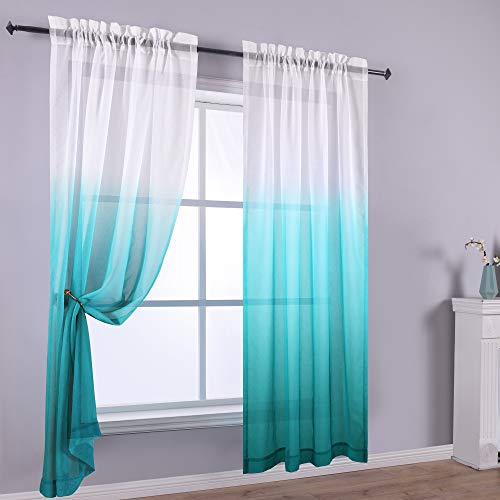 Reversible Ombre Curtains Teal White Sheer Window Curtain Panel 2 Faux Linen Semi Sheer Curtains for Bedroom Decor Kid Nursery Living Room 52 x 84 Inch Length Gradient Aqua Blue Turquoise Teal Green