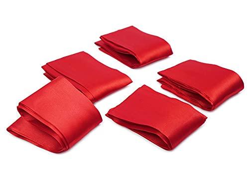 Premium Satin BDSM Bondageschal Augenbinde Bondage Fessel Schal Set (Rot - 5er Set)