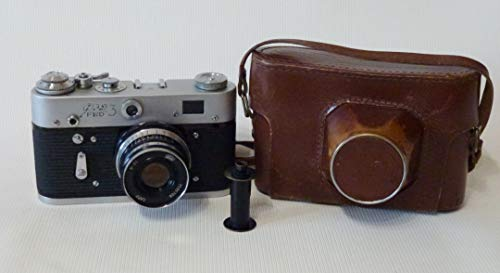 FED-3 URSS Unión Soviética (Ucrania) RF 35mm Leica Cámara de película de copia en funda de cuero original
