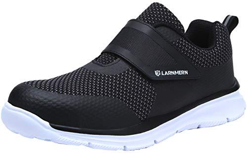 LARNMERN Zapatos de Seguridad para Hombre con Puntera de Acero Zapatillas, Ligeros y Transpirables Zapatos de Entrenamiento prevención de pinchazos LM121 (45 EU, Negro)