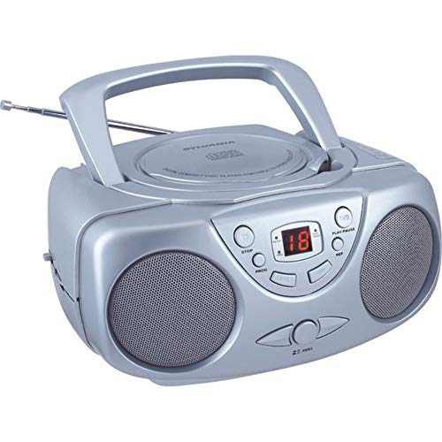 Sylvania SRCD243 Portable CD Player with AM FM Radio, Boombox (Silver)