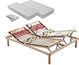 Somier de láminas manual para cama de matrimonio, 160 x 190 x 35 cm, ortopédico de madera de haya natural con reguladores de rigidez