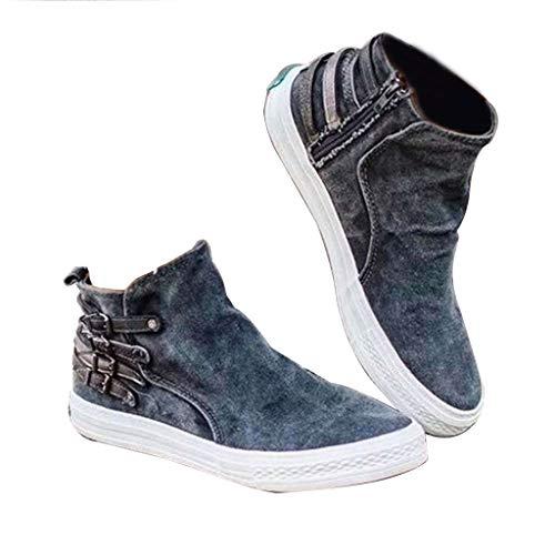 Lona Zapatillas Mujer Planas Casual Originales Mujer Lona Slip on Mocasines Cuñas Mujer Botas Zapatos de Plataforma Zapatillas de Deporte