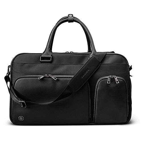 Oak & Rove Leather & Nylon Weekender Bag, Shoulder Duffel Bag with Laptop and Waterproof Shoe Compartment, Overnight…