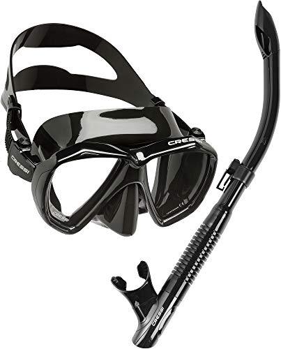 Cressi Ranger & Dry, Set Maschera per Snorkeling Unisex Adulto, Nero/Nero