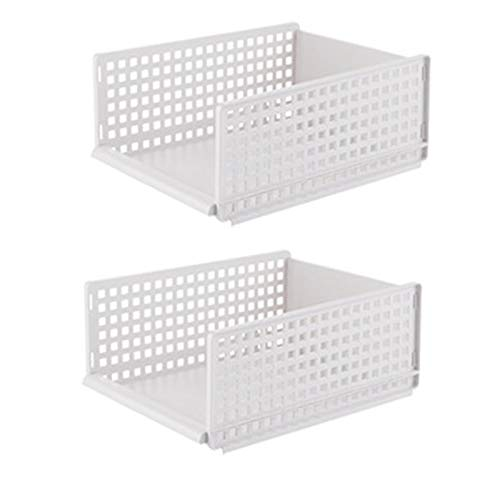 SODIAL 2Pcs Small Drawer Type Clothes Folder Layered Separator Wardrobe Storage Rack Sundries Shelf Holder Space Saver