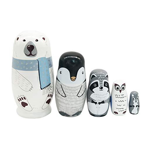Poxcap Matrioska Giocattoli educativi per l'apprendimento 5 Pezzi Bambole Russe in Legno Matrioska Giocattoli per Bambini Nido Orso Bianco Matrioska Artigianato in Legno Stile Animale Bambole