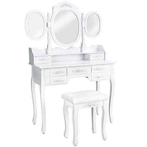 TecTake Schminktisch Kosmetiktisch weiß | mit 7 Schubladen | incl. 3 Spiegel und Sitzhocker