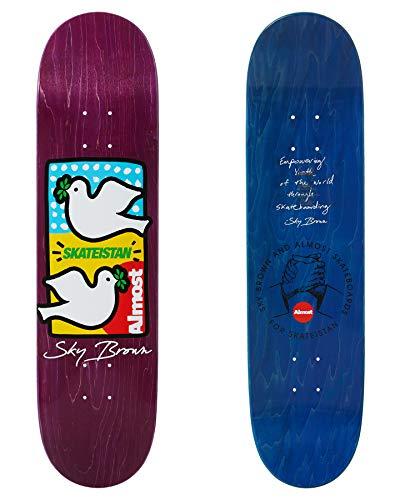 Almost Skateistan Double Doves R7 Skateboard Deck 8 inch Purple