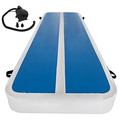 BananaB Aufblasbare Gymnastic Tumbling Matten 1x3M Luft-Bahn-stolpernde Matte weiß + blau Inflatable Gymnastics Tumbling Mat gymnastische mit Pumpe