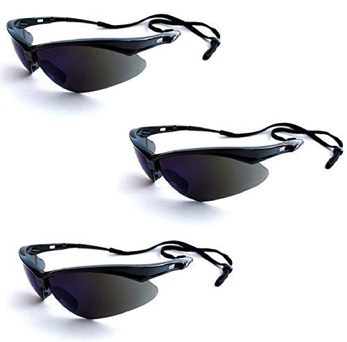 Jackson Safety V30 25688 Nemesis Safety Glasses 3000356 (3 Pair) (Black Frame with Smoke Mirror Lens)