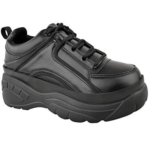 Heelberry® - Zapatillas de deporte para mujer con plataforma alta, color blanco, color Negro, talla 36 EU