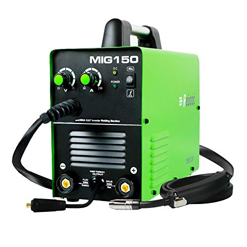 Soldador MIG Flux Core sin gas - Reboot MIG150 Stick Mig Welding Machine 150 Amps Gas and Gasless 220V 2 in 1 Flux Core / Solid Wire Automatic Feed Inverter IGBT Inversor MMA ARC Soldadura para acero inoxidable suave