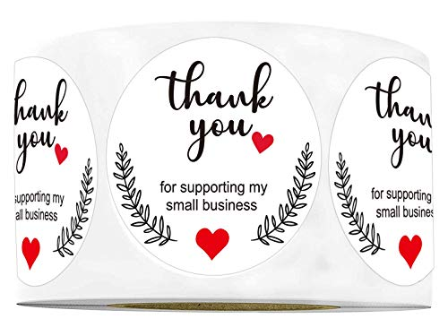 """1.5"""" Round Thank You for Supporting My Small Business Sticker Labels with Hearts Waterproof - Printed White Small Business Thank You Stickers 500 Thank You Labels/Roll"""