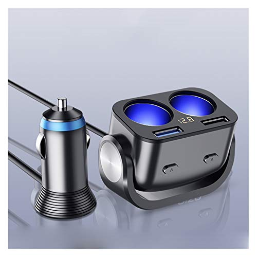 Little rich man 12V Cargador de automóviles USB QC3 Cigarrillo Encendedor Divisor Splitter CARGA RÁPIDA AJUSTE PARA TELÉFONO MÓVIL IPAD DUAL USB CIGNARITT AUTOCLES ( Color Name : Type 2 Black )