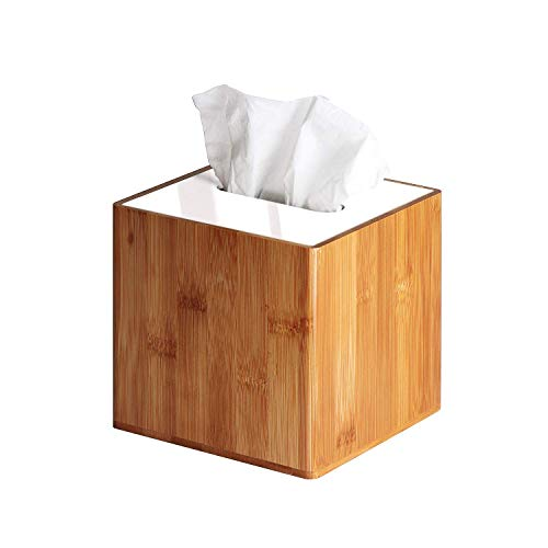 JackCubeDesign Bamboo Square Tissue Box White Leather Cover Holder Case Storage Case Stand Box Napkin Holder Organiser(14.8 x 14.8 x 14.4 cm)-:MK340A