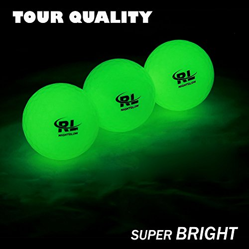 R&L Glow Golf Balls for Night Sports - Tournament Fluorescent Glowing in The Dark Golf Ball - Long Lasting Bright Luminous Balls Rechargeable with UV Flashlight - Included (3 Pack)