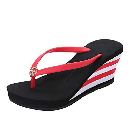 LINNUO Chanclas Cuñas Mujer de Rayas Sandalias Plataformas Flip Flops de Playa Verano Pantuflas Tacon con Metal (Negro,CN 36)