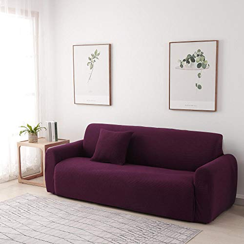 B/H Lavable/Antiácaros Funda de sofá,Funda de sofá Acolchada de Forro Polar, Funda de sofá de Color Liso-Rojo A_190-230cm,Sillón Elastano Fundas de Sofá