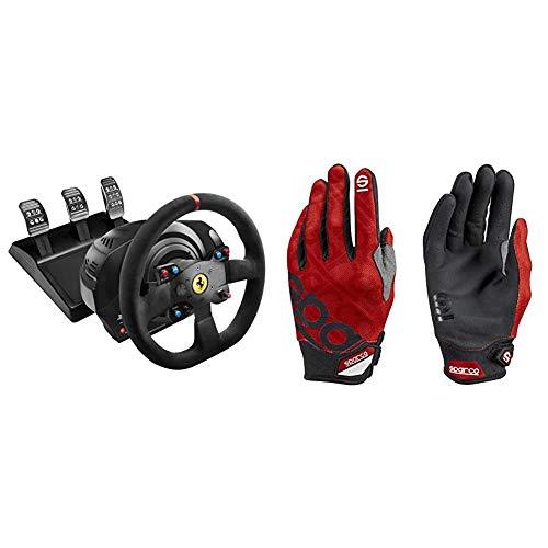 ThrustMaster T300 Ferrari Integral Alcantara Edition - Volante para PS4/PS3/PC, Force Feedback, 3 Pedales, Licencia Oficial Ferrari + Sparco 002093RS3L Guantes, Rojo, L