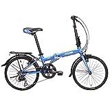 Bicicleta plegable, adultos plegable de la bicicleta, de 20 pulgadas de aleación de aluminio de 6 velocidades Urban Commuter bicicletas, ligero portátiles, bicicletas con guardabarros delantero y tras