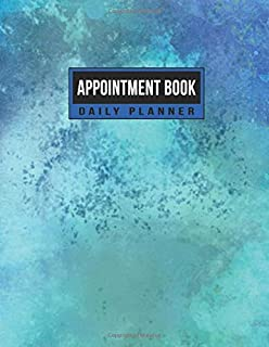 Appointment Book Daily Planner: Schedule Notebook for Nail Salons, Spas, Hair Stylist, Beauty & Massage Businesses with Times Daily and Hourly Spaced In 15 Minute Increment (Blue Marine Watercolors)