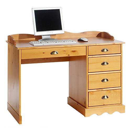 IDIMEX Schreibtisch Bürotisch, honigfarben, mit Aufsatz