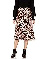 The Drop Maya Falda con efecto seda para Mujer, Estampado de leopardo, M