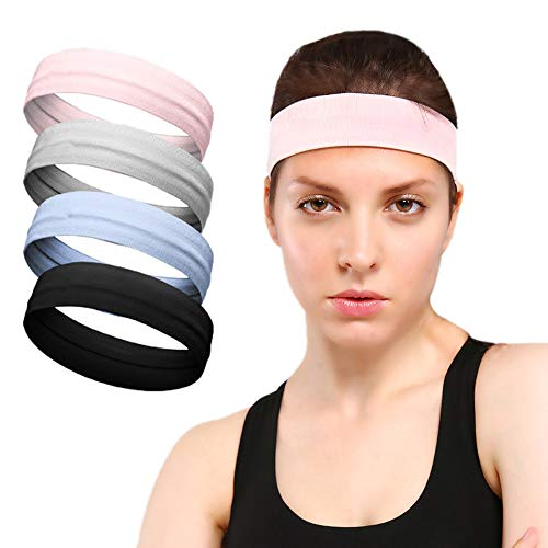 Calbeing Sports Headband for Women, Non Slip with Grip Silicone Sweat, Soft Stretchy Yoga Headband, Workout Wicking Head Band Fitness Exercise Tennis Running Athletic Travel
