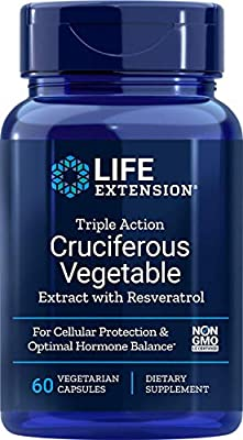 Life Extension Triple-Action Cruciferous Vegetable Extract with Resveratrol 60 Vegetarian Capsules by Life Extension