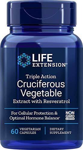 Life Extension Extracto Vegetal Triple Action Cruciferous con Resveratrol - 60 Vcaps 80 g
