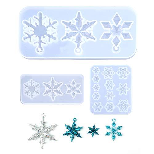 SAVITA 3 moldes de silicona de copo de nieve de resina epoxi para manualidades, collares, pendientes, decoración de boda Christmsa