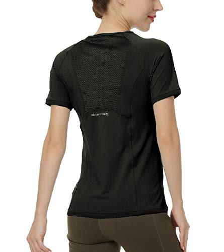 QUEENIEKE Women Yoga Mix & Mesh Short Sleeve T-Shirt Sports Tee Running Top Size XS Color Black
