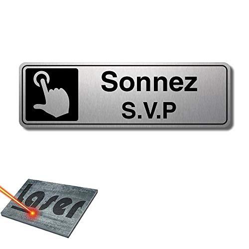 Plaque gravée autocollante 13x4cm Sonnez SVP fond Alu brossé