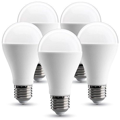 V-TAC Bombilla LED E27, 17W equivalente a 120 W, 1800 lúmenes, 130° - 5 unidades (4000K 17W (5 unidades))