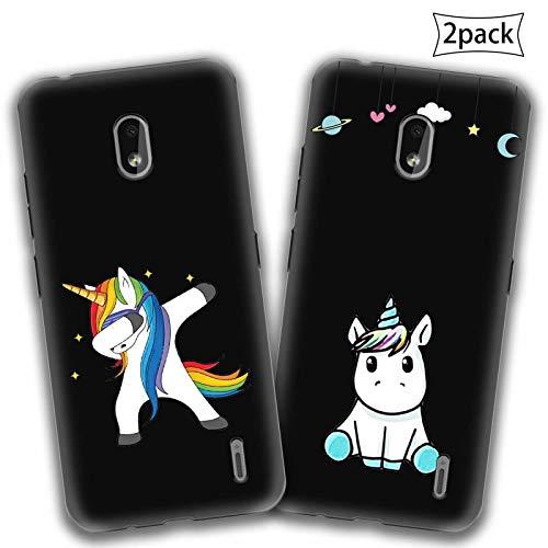 """2 X Cover per Nokia 2.2,{Unicorno 1} Premium Morbida Nero Silicone Gel TPU Anti-graffio Cellulare Protezione Custodia per Nokia 2.2 (5,71"""")"""